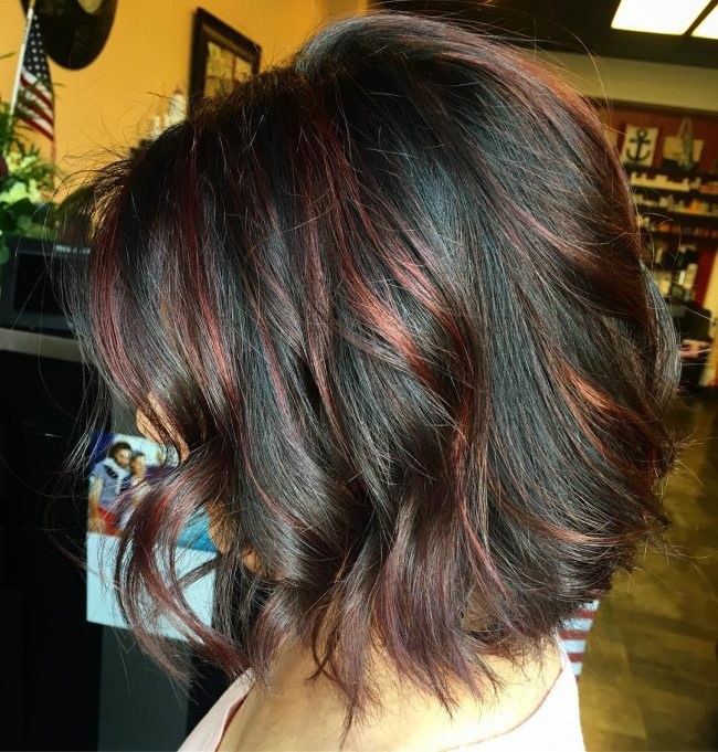 Black Wavy Bob with Copper Babylights