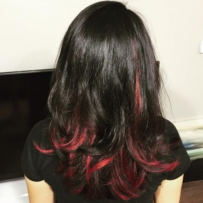 Black Wavy Hair with Red Peek-a-Boo Highlights
