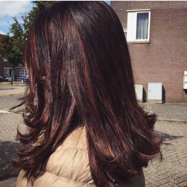 Black and Auburn Balayage Hair