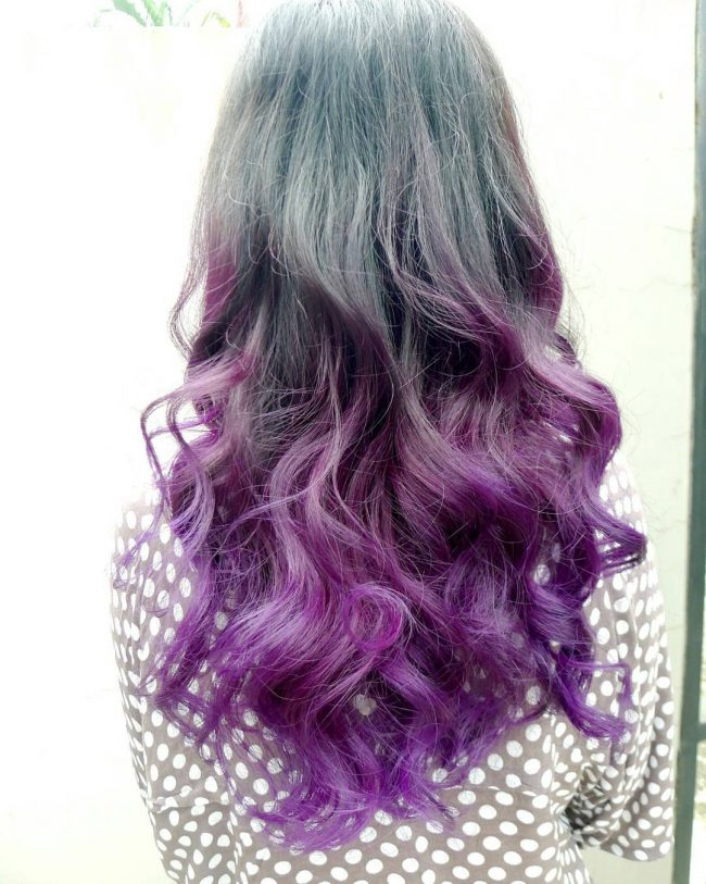 Black to Deep Lilac Ombre