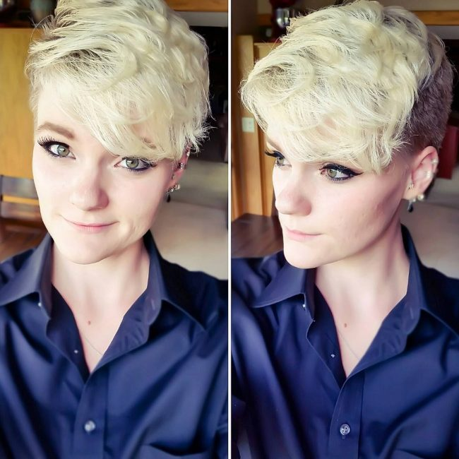 Bleached Pixie with Dark Undercut