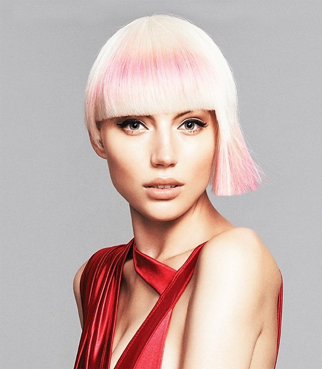 Blonde to Pink Bowl Cut