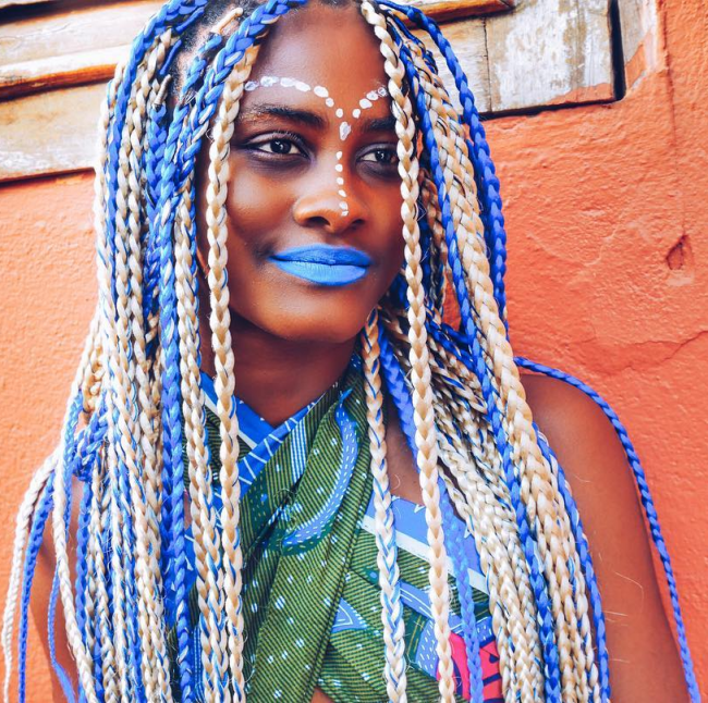 Blue and Blonde Yarn Braids