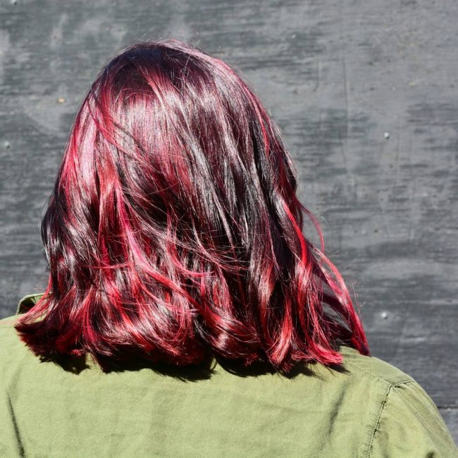 Bright Red Balayage