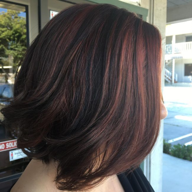Brunette Bob with Copper Lights