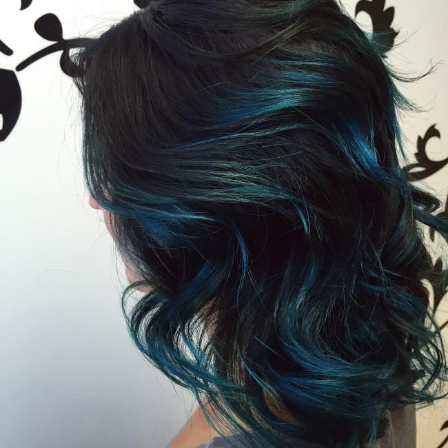 Brushed-In Dark Blue Hair