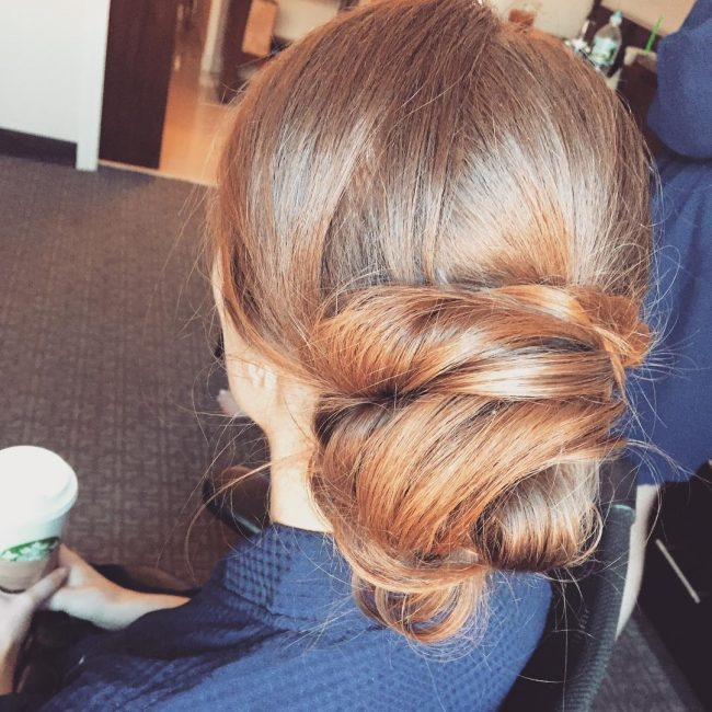 Bun with Overlapping Updo