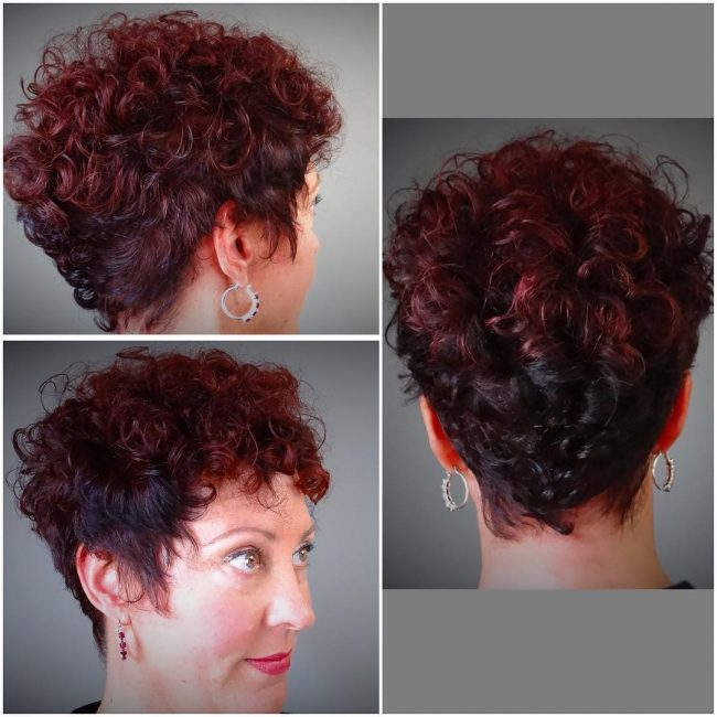 Burgundy Curl-Up Faux Hawk