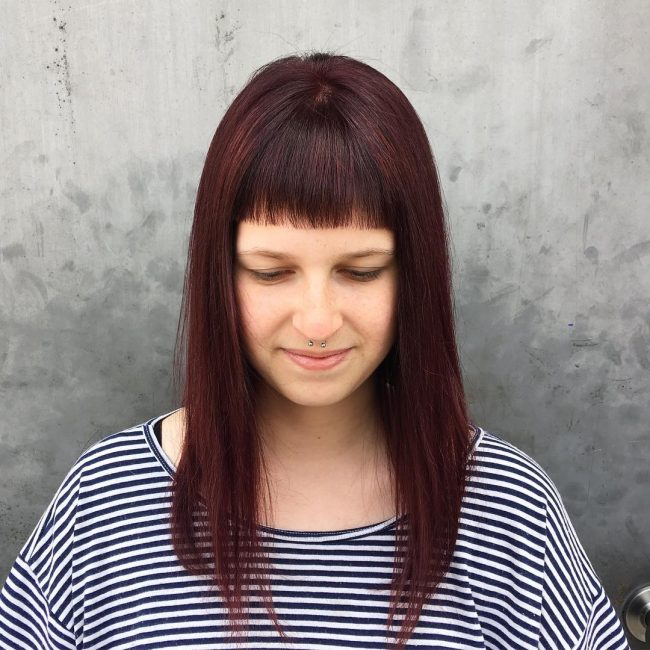Burgundy Hair with Baby Bangs