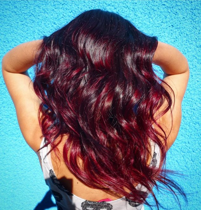 Cherry Cola Balayage Ombre