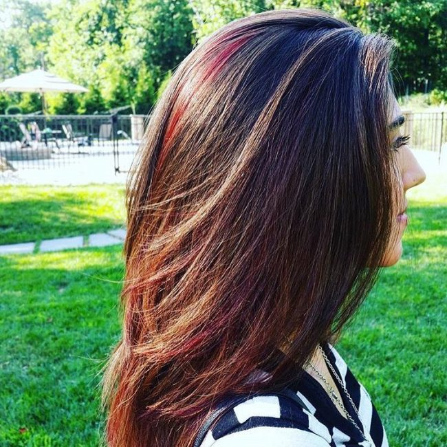 Chopped Layered Locks with Sharp Burgundy Highlights
