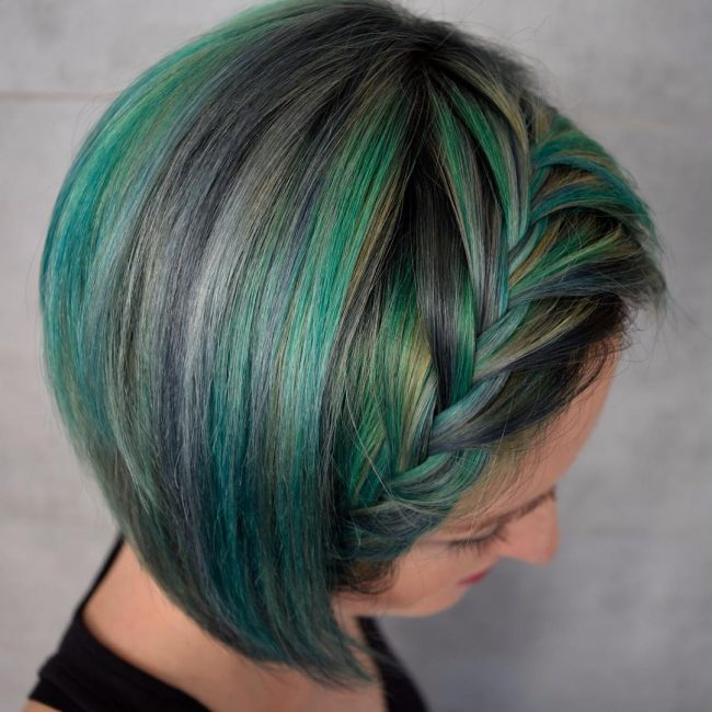 Colorful Braided Bob