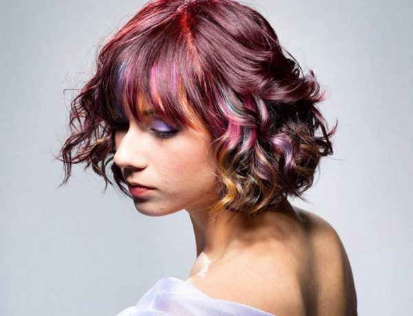 Colorful Curly Bob
