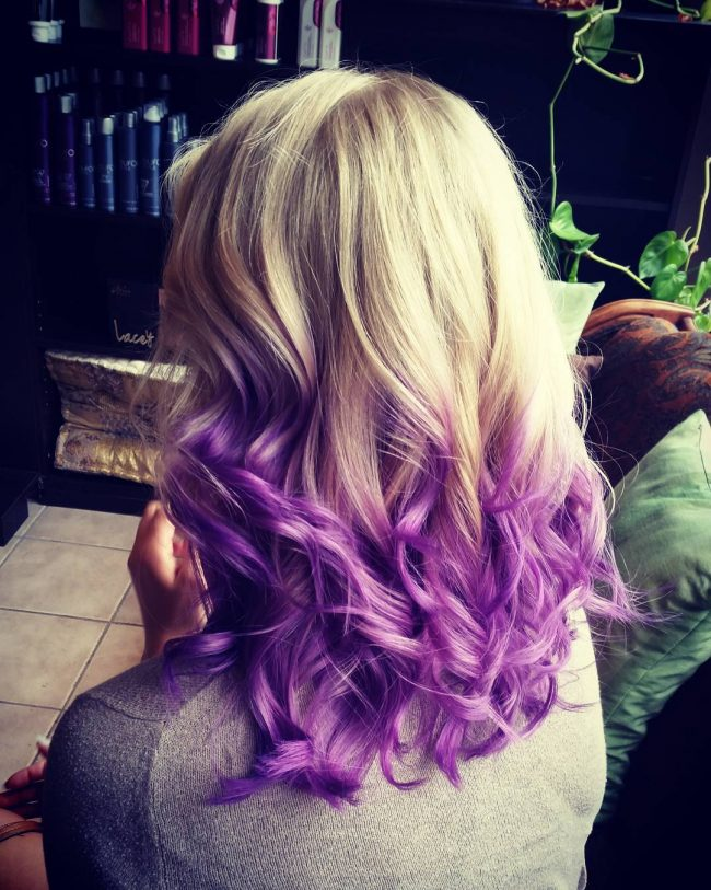 Curly Blonde to Violet Ombre
