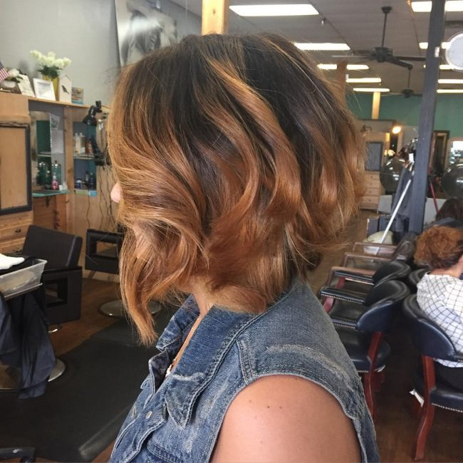 Curly Bob with Copper Highlights