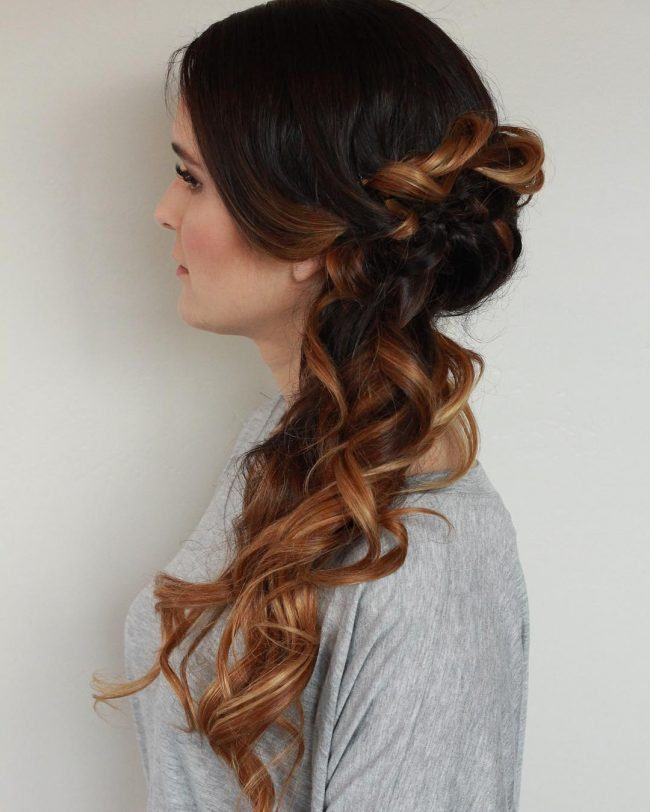 Cute Brunette Ombre Side Upstyle