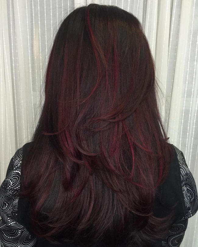 Dark Brown Hair with Magenta Highlights