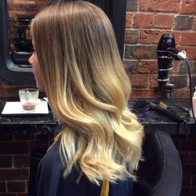 Dark Brown into Light Ash Blonde Ombre