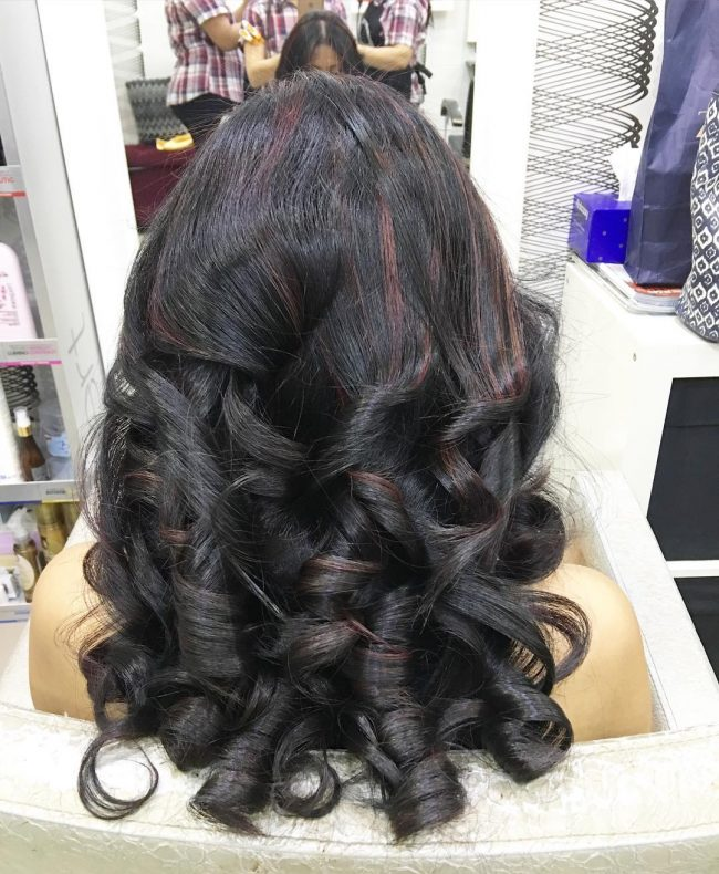 Dark Curls with Copper Highlights