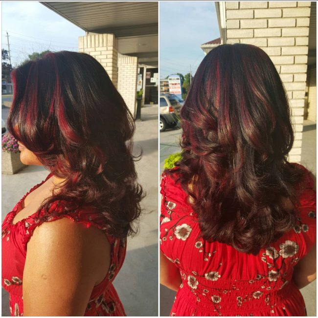 Dark Locks with Plum Red Highlights