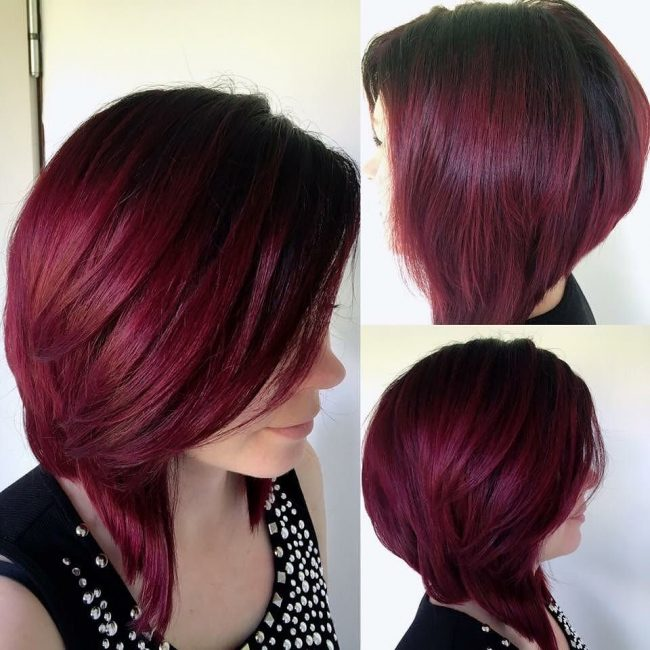 Dark Red Ombre with Shadow Roots