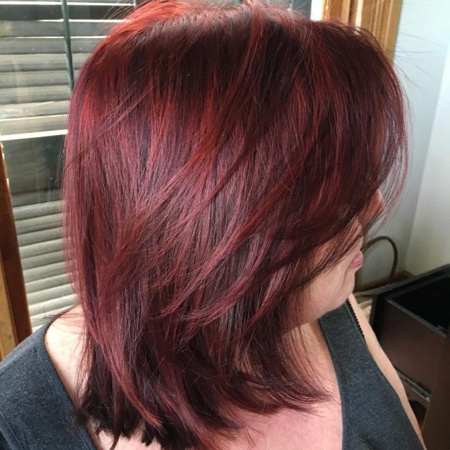 Dimensional Lob with Rich Burgundy Highlights