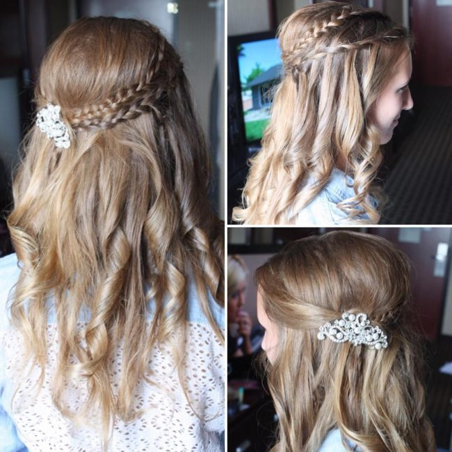 Double Braided Headband and Textured Curls