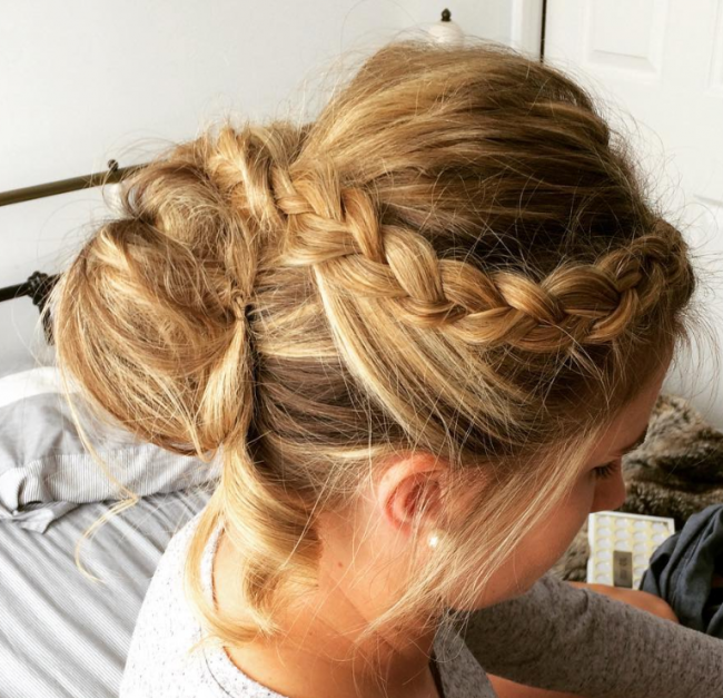 Dutch Braid into Messy Bun