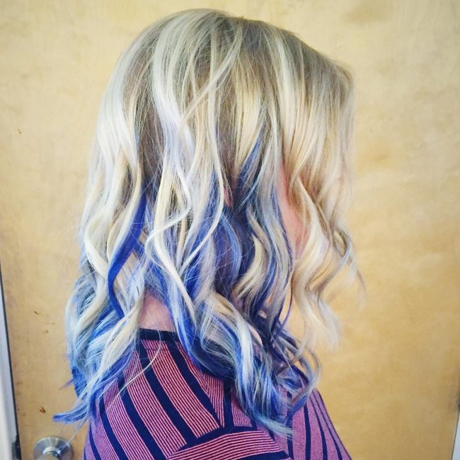 Dynamic Blonde and Indigo Hair