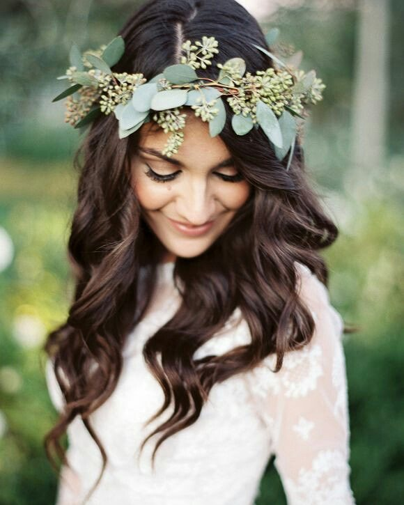Face Framing Wavy Bangs with Flower Crown