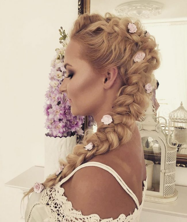 Fancy Side Braid with Flowers