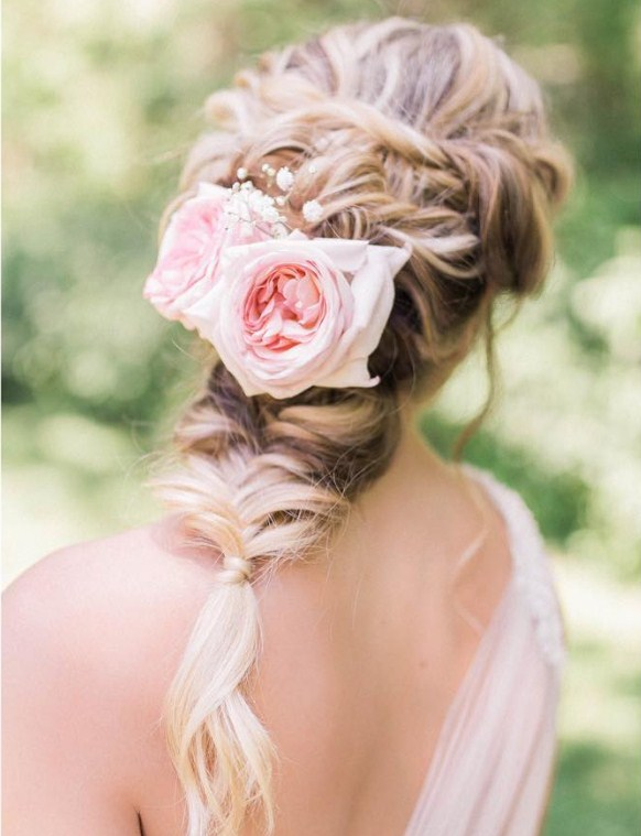 Fishtail Braids with Fresh Flowers