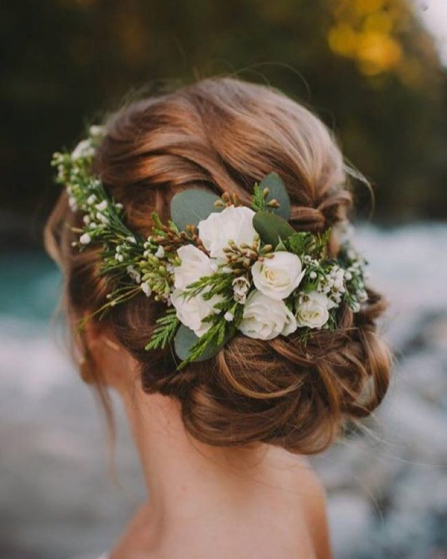 Flowers on Softly Braided Chignon
