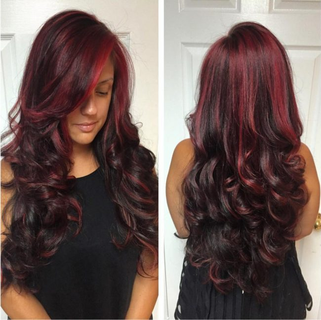 Flowing Curls with Burgundy Touches