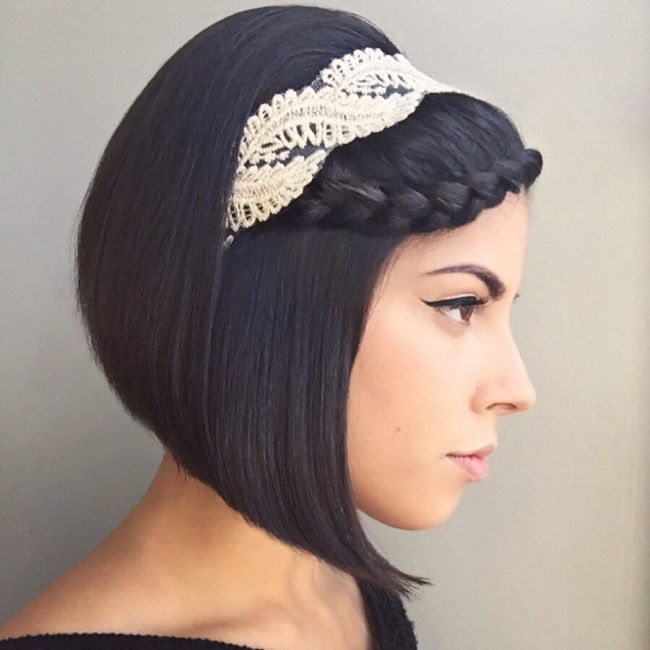French Lace Braid on an A-line Bob