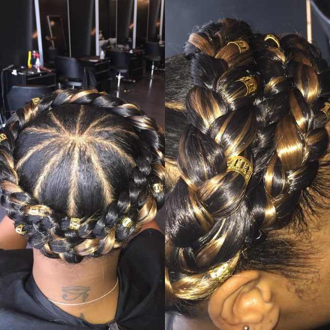 Glossy Double Crown Braids