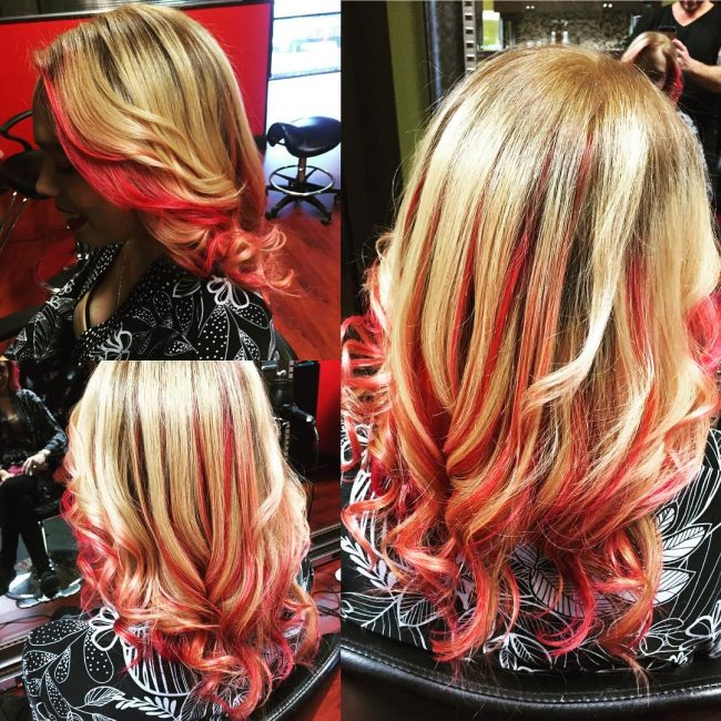 Golden Locks with Vibrant Plum Red Highlights