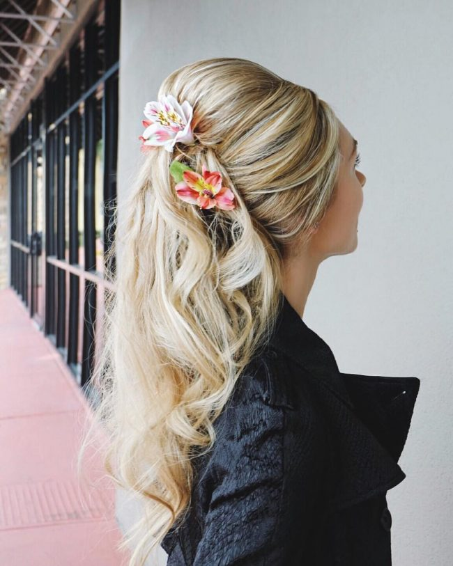 Half Up Ponytail with Flowers