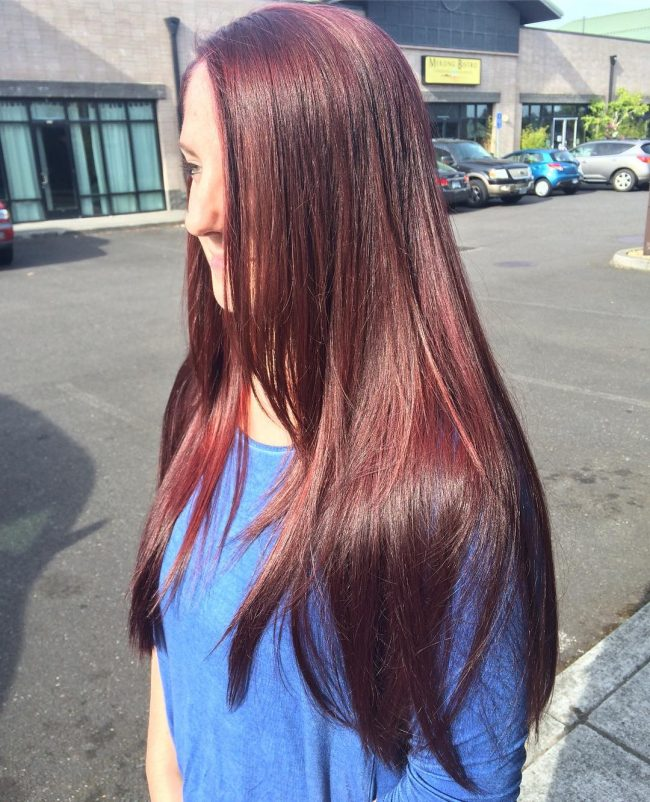 Long Burgundy Locks