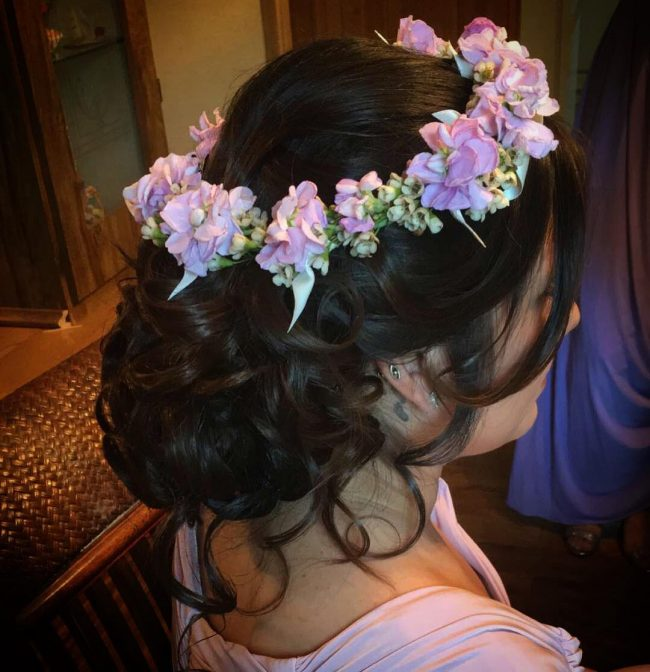 Massive Low Bun and Flower Crown
