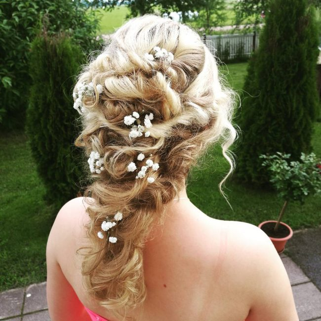 Messy French Braid with Flowers