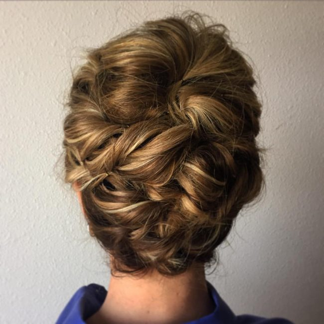 Messy and Textured Curly Updo