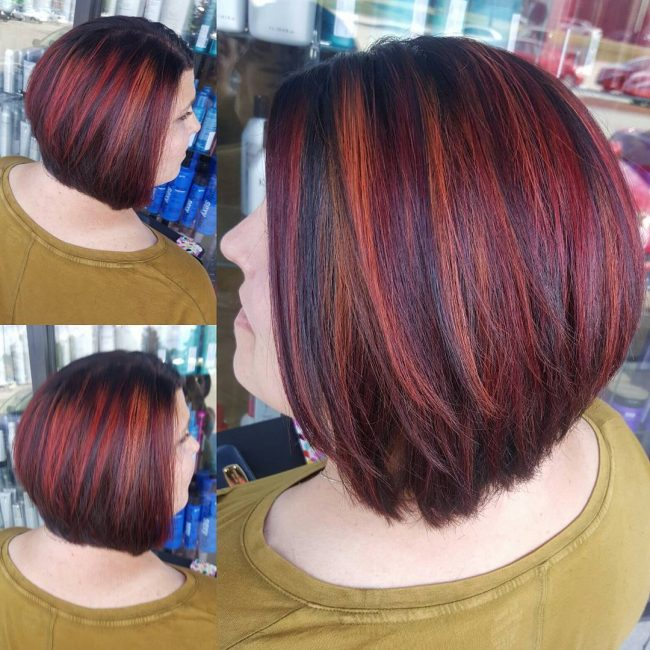 Multi-Toned Bob with Stacked Hues of Color