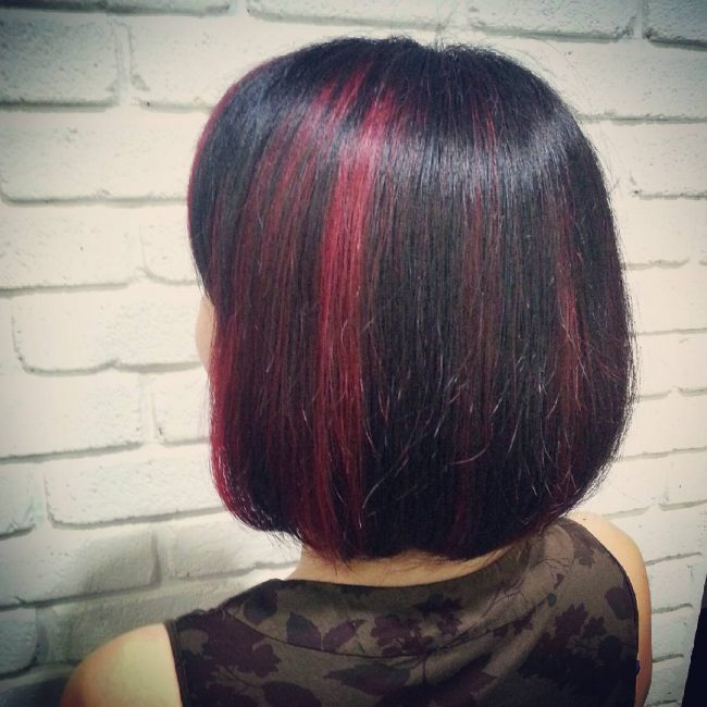 Neat Bob with Burgundy Babylights