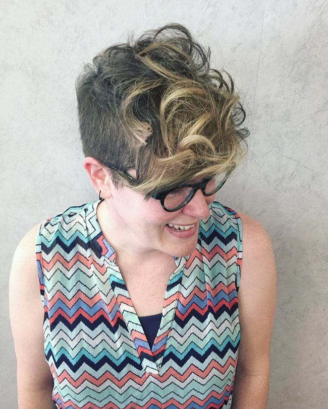 Pixie Cut with Golden Highlights