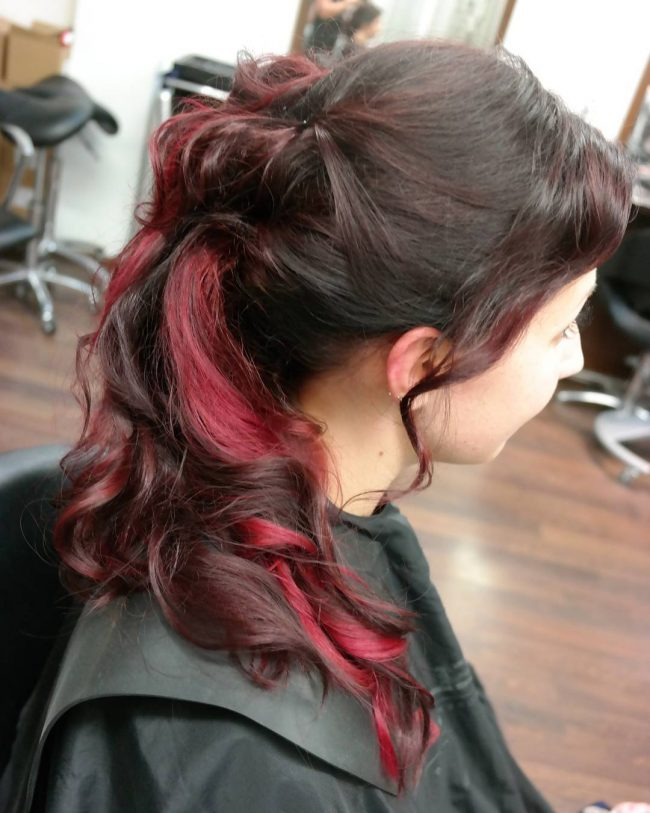 Ponytail Updo with Burgundy Ombre Highlights