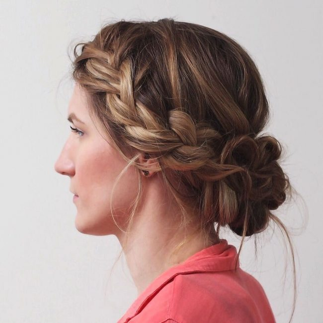 Pretty Side French Braid with a Low Loose Bun