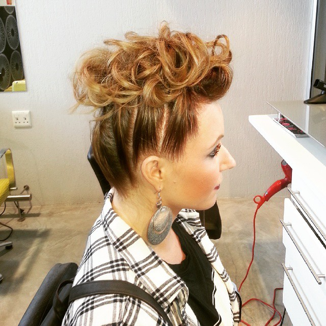 Pulled Up Curly Faux Hawk Updo
