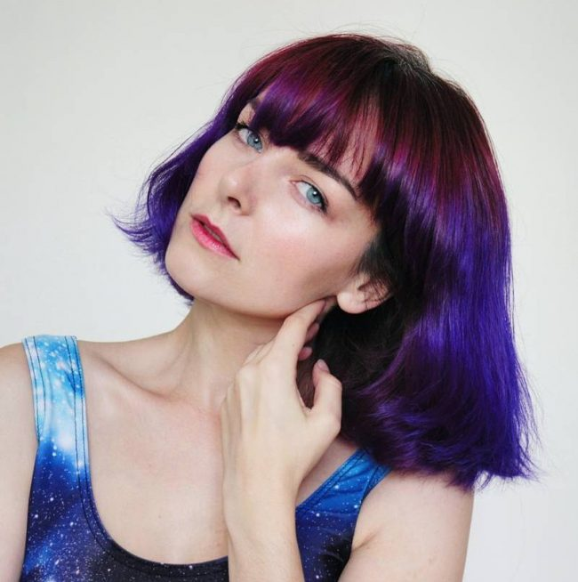 Purple Bob Bangs with an Arched Fringe