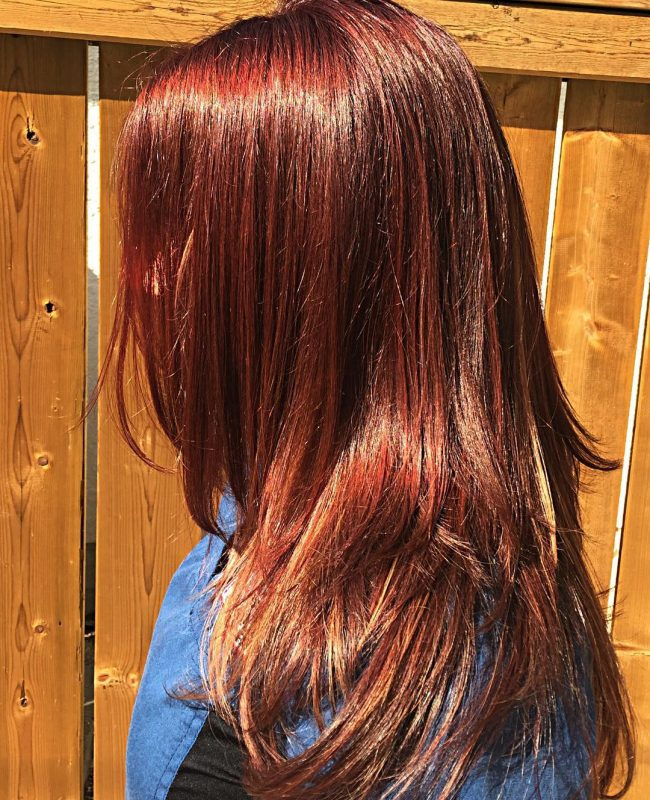 Radiant Mahogany and Caramel Hair